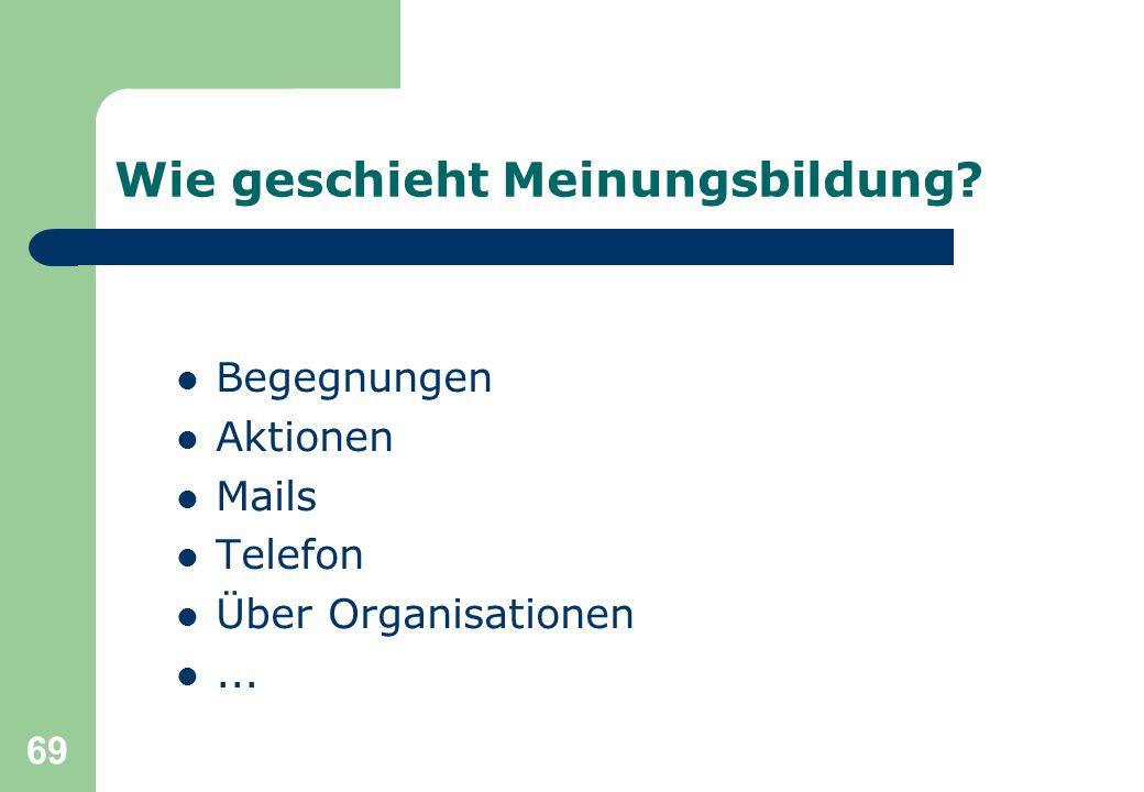 69 Wie geschieht Meinungsbildung? Begegnungen Aktionen Mails Telefon Über Organisationen...