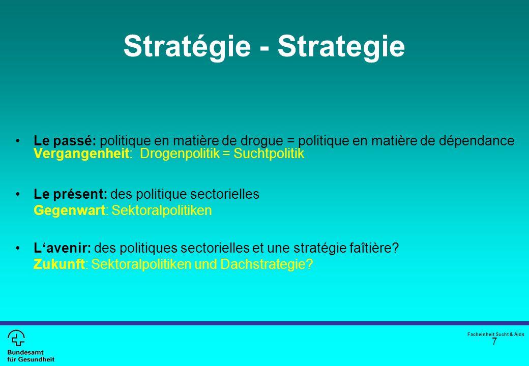 7 Stratégie - Strategie Le passé: politique en matière de drogue = politique en matière de dépendance Vergangenheit: Drogenpolitik = Suchtpolitik Le p