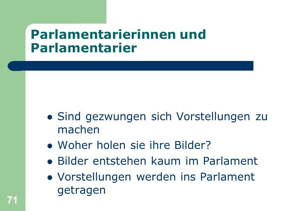 71 Parlamentarierinnen und Parlamentarier Sind gezwungen sich Vorstellungen zu machen Woher holen sie ihre Bilder? Bilder entstehen kaum im Parlament