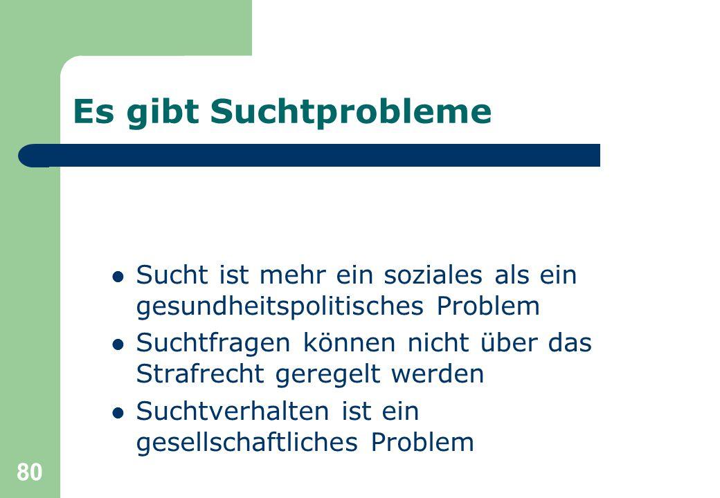 80 Es gibt Suchtprobleme Sucht ist mehr ein soziales als ein gesundheitspolitisches Problem Suchtfragen können nicht über das Strafrecht geregelt werden Suchtverhalten ist ein gesellschaftliches Problem