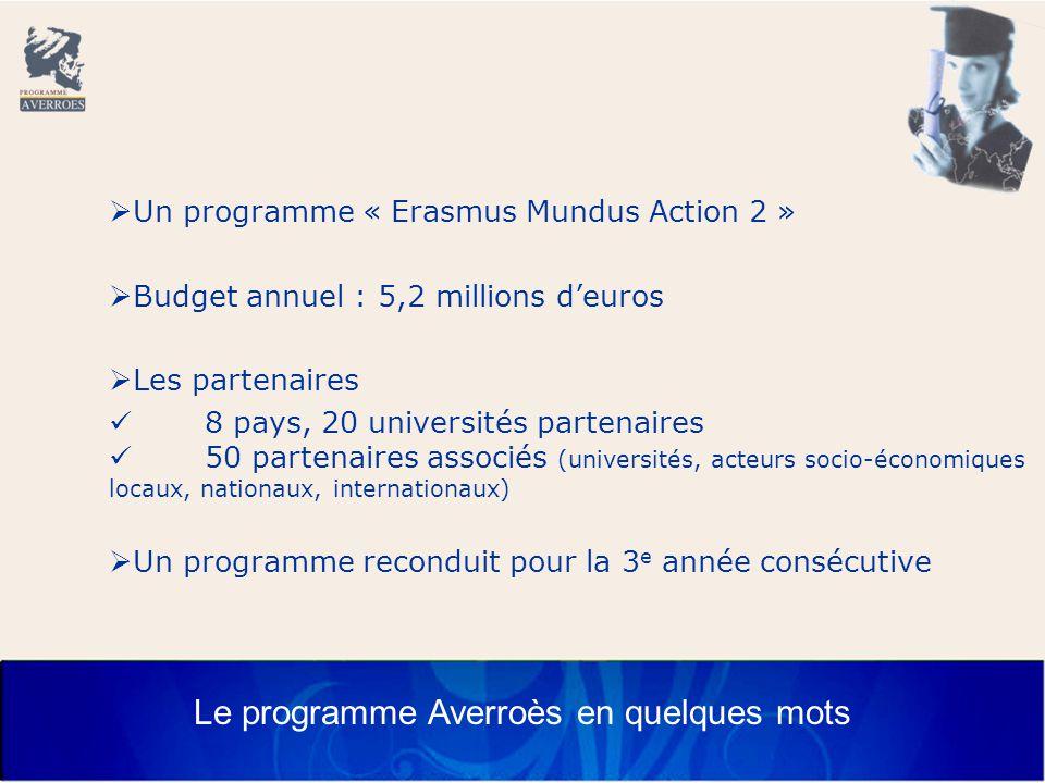 Le programme Averroès en quelques mots  Un programme « Erasmus Mundus Action 2 »  Budget annuel : 5,2 millions d'euros  Les partenaires 8 pays, 20 universités partenaires 50 partenaires associés (universités, acteurs socio-économiques locaux, nationaux, internationaux)  Un programme reconduit pour la 3 e année consécutive