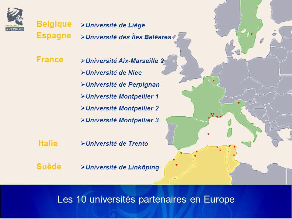 Les 10 universités partenaires en Europe  Université de Liège  Université des Îles Baléares  Université Aix-Marseille 2  Université de Nice  Université de Perpignan  Université Montpellier 1  Université Montpellier 2  Université Montpellier 3  Université de Trento  Université de Linköping Belgique Espagne France Italie Suède