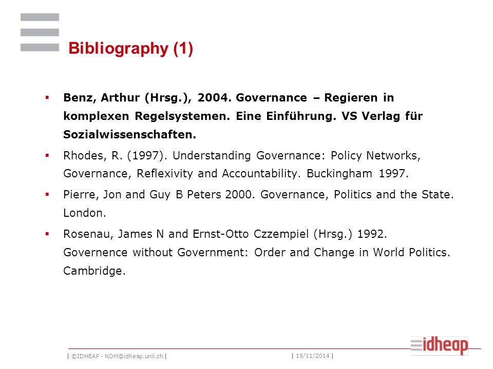 | ©IDHEAP - NOM@idheap.unil.ch | | 19/11/2014 | Bibliography (1)  Benz, Arthur (Hrsg.), 2004.
