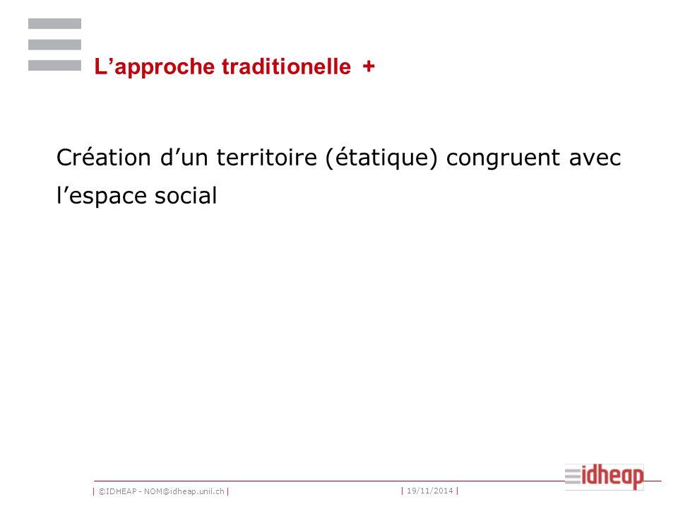 | ©IDHEAP - NOM@idheap.unil.ch | | 19/11/2014 | L'approche traditionelle + Création d'un territoire (étatique) congruent avec l'espace social