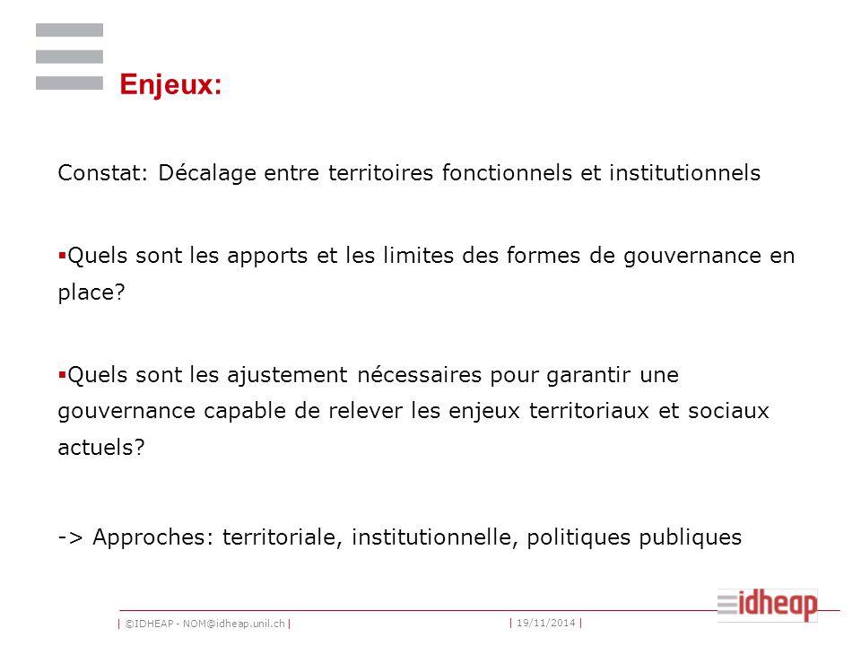 | ©IDHEAP - NOM@idheap.unil.ch | | 19/11/2014 | Enjeux: Constat: Décalage entre territoires fonctionnels et institutionnels  Quels sont les apports et les limites des formes de gouvernance en place.