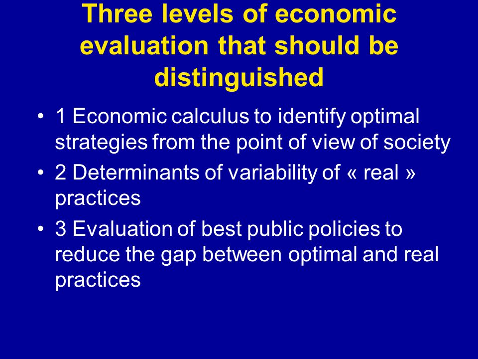 Three levels of economic evaluation that should be distinguished 1 Economic calculus to identify optimal strategies from the point of view of society