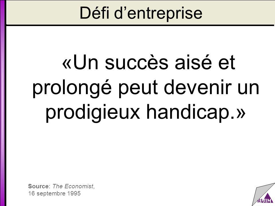 Défi d'entreprise «Un succès aisé et prolongé peut devenir un prodigieux handicap.» Source: The Economist, 16 septembre 1995