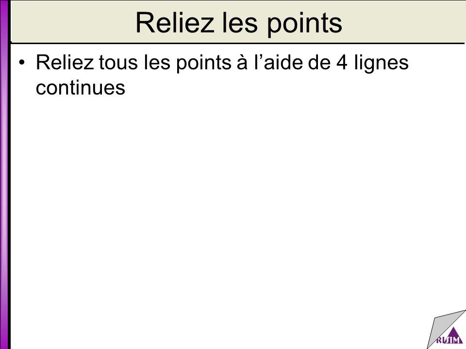 Reliez les points Reliez tous les points à l'aide de 4 lignes continues