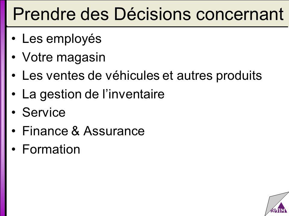Prendre des Décisions concernant Les employés Votre magasin Les ventes de véhicules et autres produits La gestion de l'inventaire Service Finance & Assurance Formation