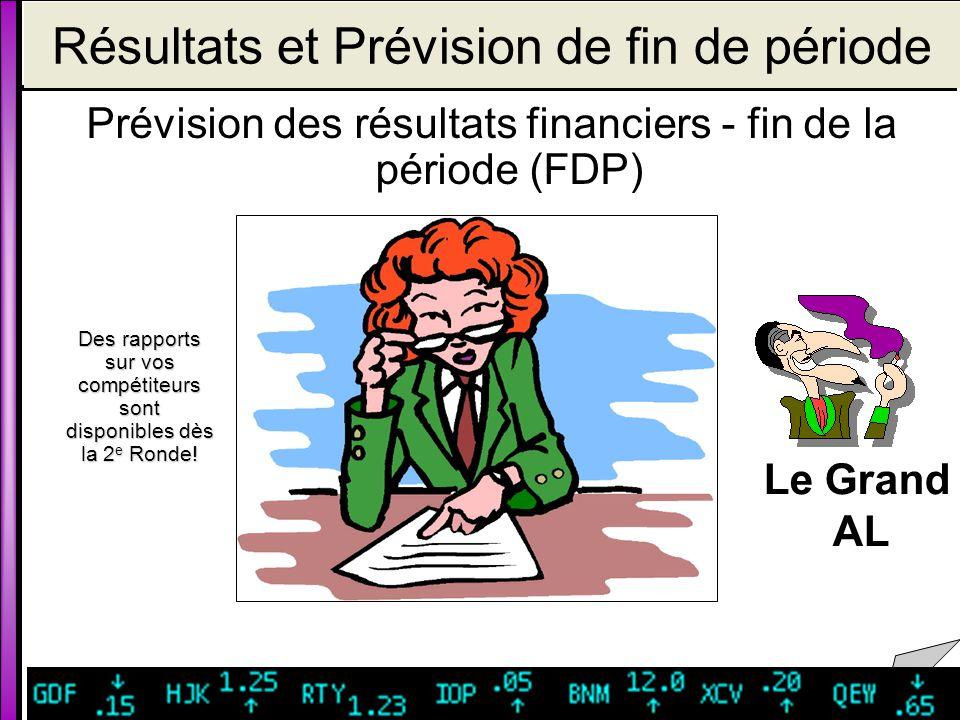 Résultats et Prévision de fin de période Prévision des résultats financiers - fin de la période (FDP) Le Grand AL Des rapports sur vos compétiteurs sont disponibles dès la 2e Ronde!