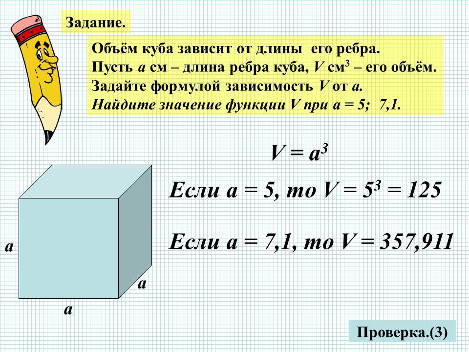 Задание. Объём куба зависит от длины его ребра. Пусть а см – длина ребра куба, V см 3 – его объём.