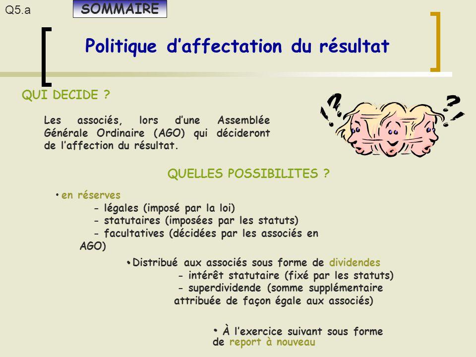 Q5.a Politique d'affectation du résultat QUI DECIDE ? QUELLES POSSIBILITES ? Les associés, lors d'une Assemblée Générale Ordinaire (AGO) qui décideron