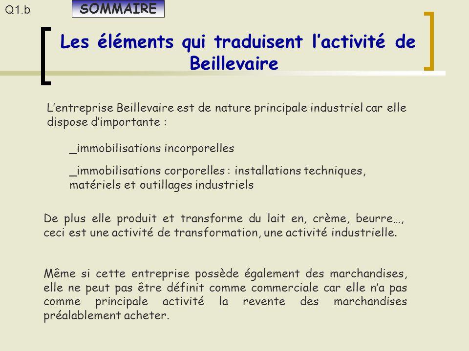 L'entreprise Beillevaire est de nature principale industriel car elle dispose d'importante : Même si cette entreprise possède également des marchandis