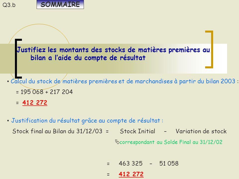 Justifiez les montants des stocks de matières premières au bilan a l'aide du compte de résultat Calcul du stock de matières premières et de marchandis