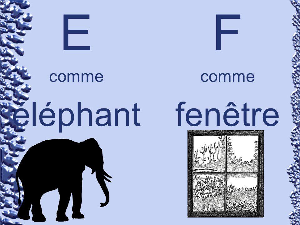 E comme éléphant F comme fenêtre