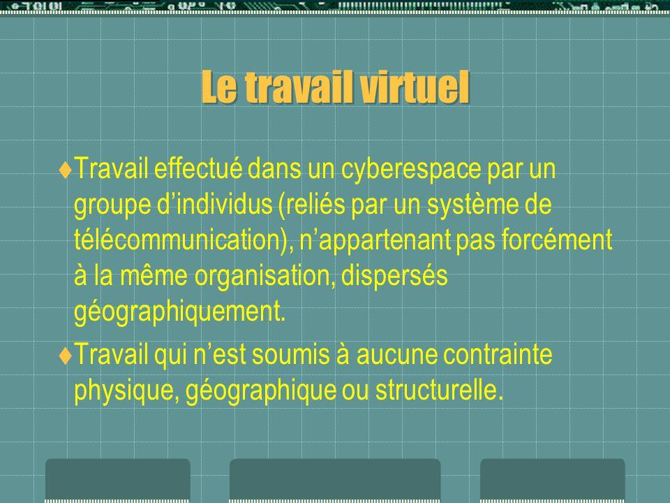 Le travail virtuel  Travail effectué dans un cyberespace par un groupe d'individus (reliés par un système de télécommunication), n'appartenant pas forcément à la même organisation, dispersés géographiquement.