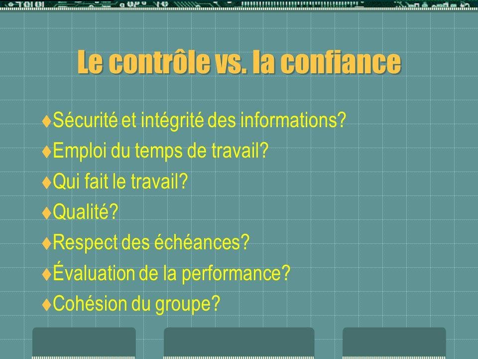 Le contrôle vs. la confiance  Sécurité et intégrité des informations.