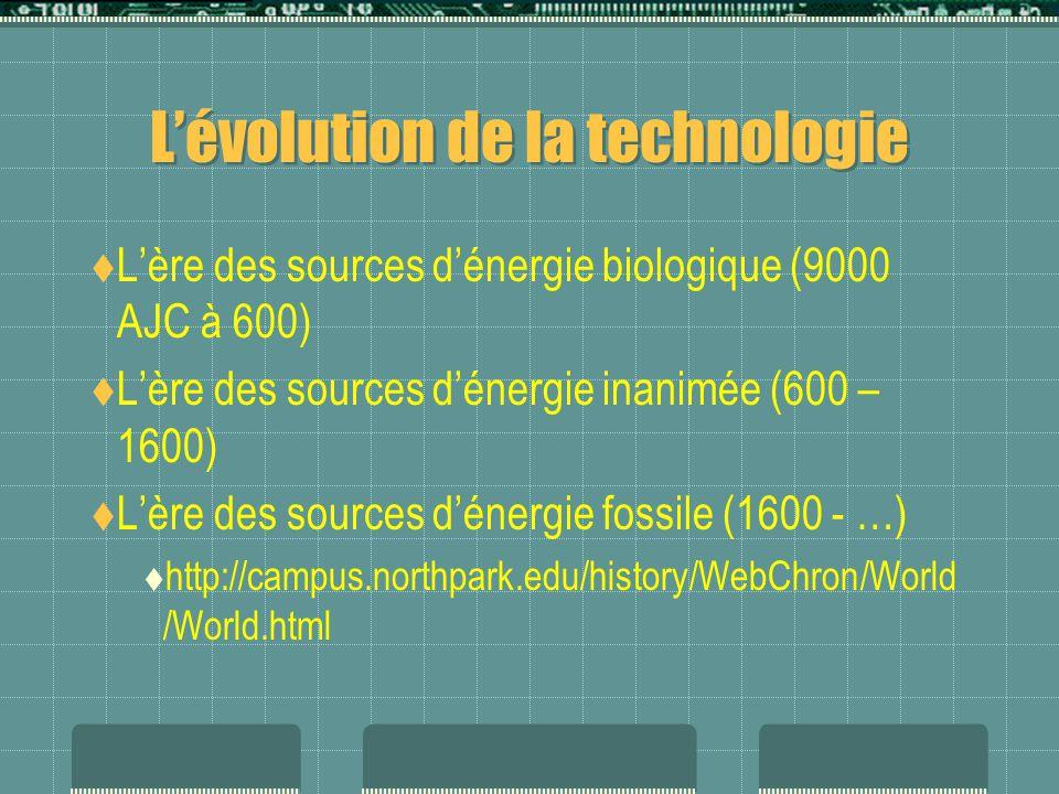 L'évolution de la technologie  L'ère des sources d'énergie biologique (9000 AJC à 600)  L'ère des sources d'énergie inanimée (600 – 1600)  L'ère des sources d'énergie fossile (1600 - …)  http://campus.northpark.edu/history/WebChron/World /World.html