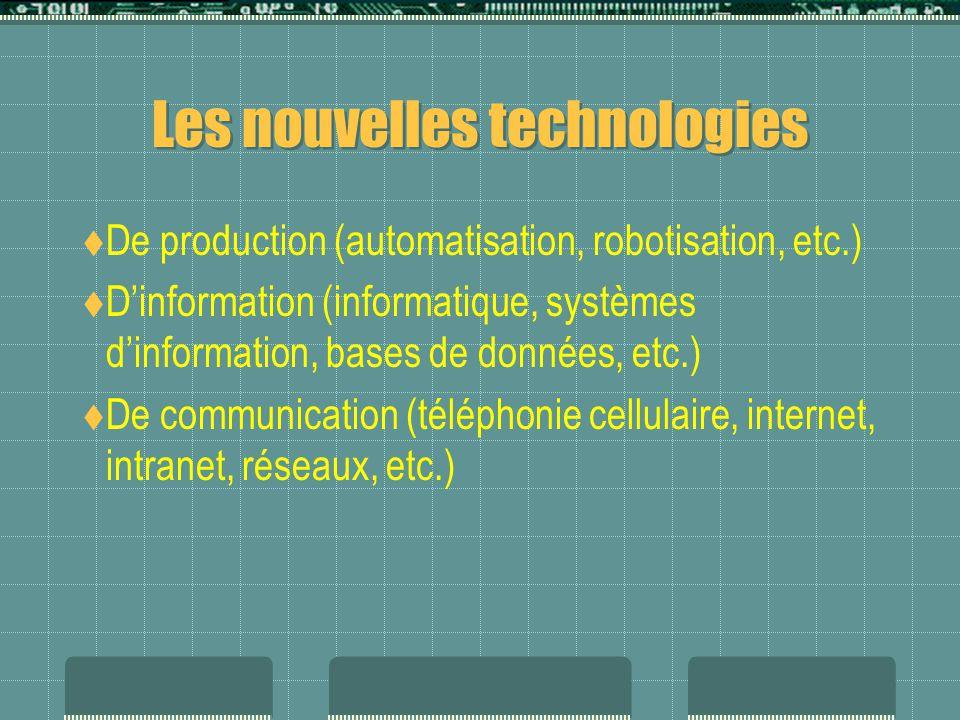 Les nouvelles technologies  De production (automatisation, robotisation, etc.)  D'information (informatique, systèmes d'information, bases de données, etc.)  De communication (téléphonie cellulaire, internet, intranet, réseaux, etc.)