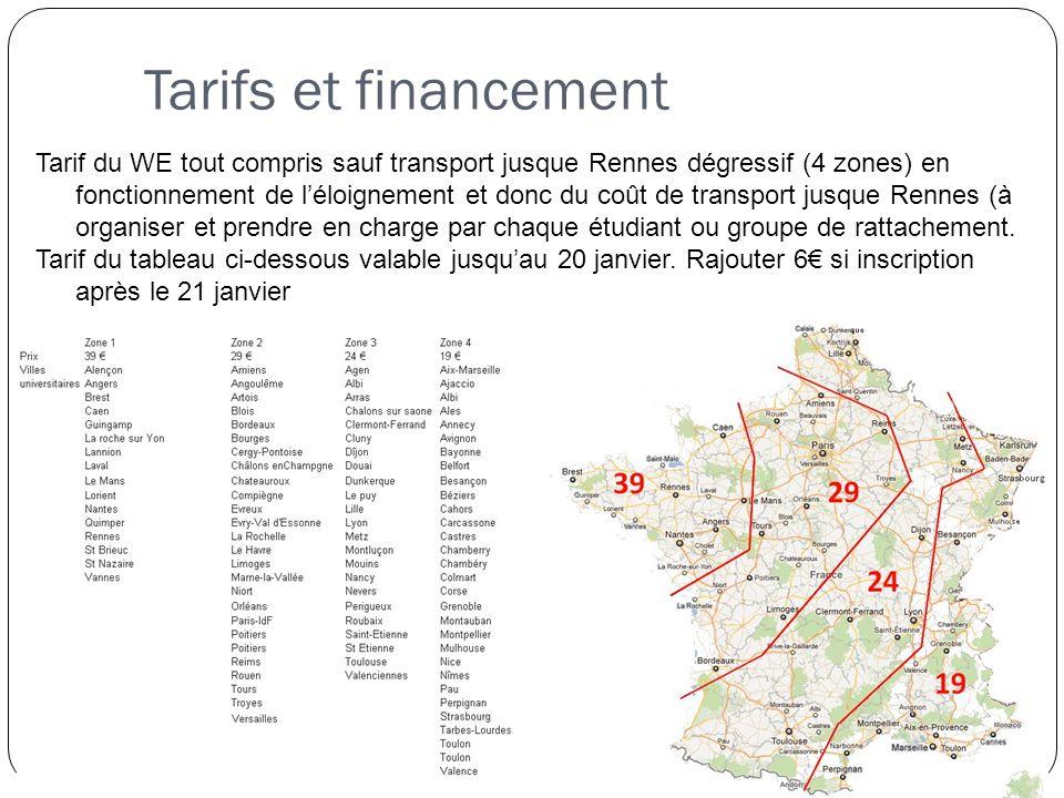 Tarifs et financement Tarif du WE tout compris sauf transport jusque Rennes dégressif (4 zones) en fonctionnement de l'éloignement et donc du coût de