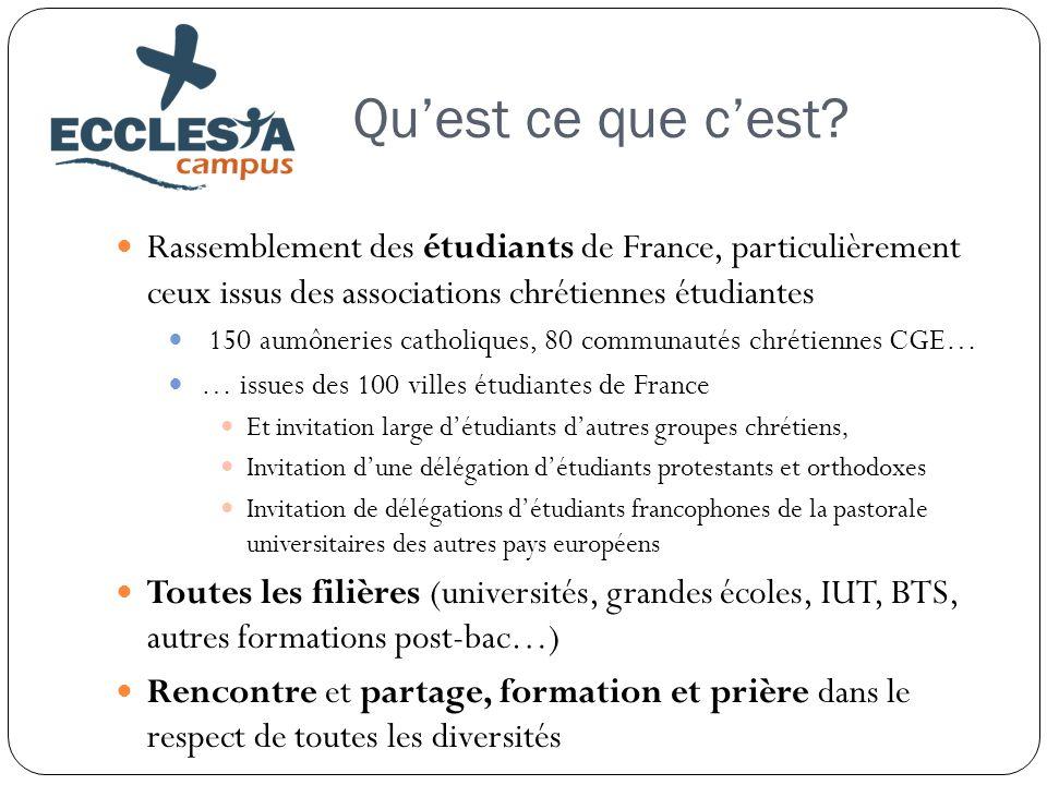 Qu'est ce que c'est? Rassemblement des étudiants de France, particulièrement ceux issus des associations chrétiennes étudiantes 150 aumôneries catholi