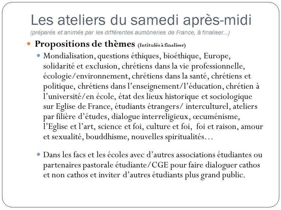 Propositions de thèmes (Intitulés à finaliser) Mondialisation, questions éthiques, bioéthique, Europe, solidarité et exclusion, chrétiens dans la vie