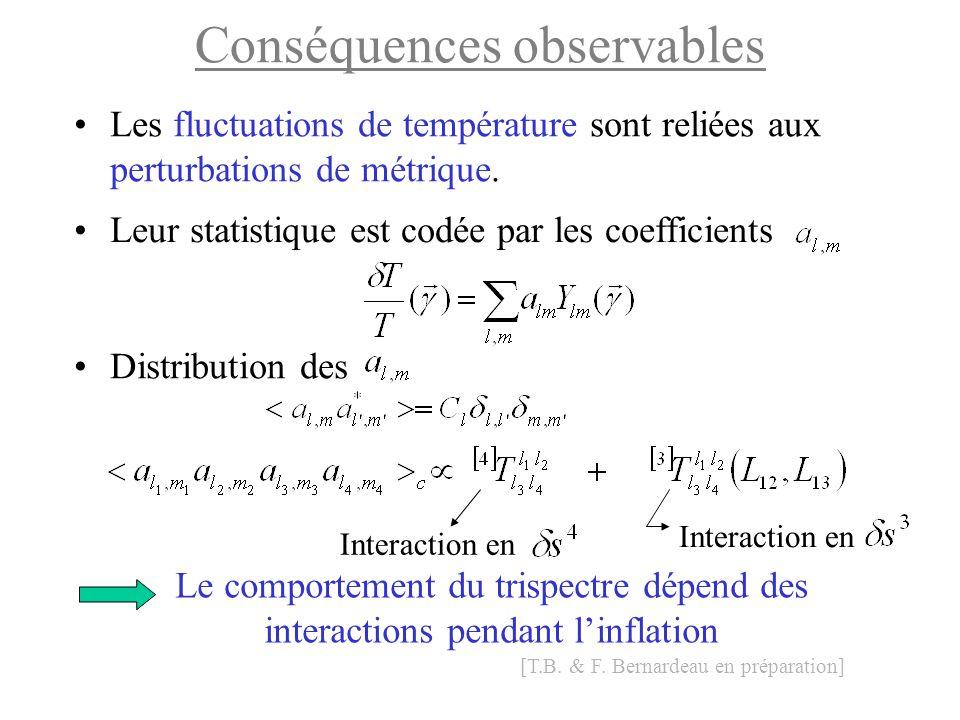Conséquences observables Les fluctuations de température sont reliées aux perturbations de métrique. Distribution des Interaction en Le comportement d
