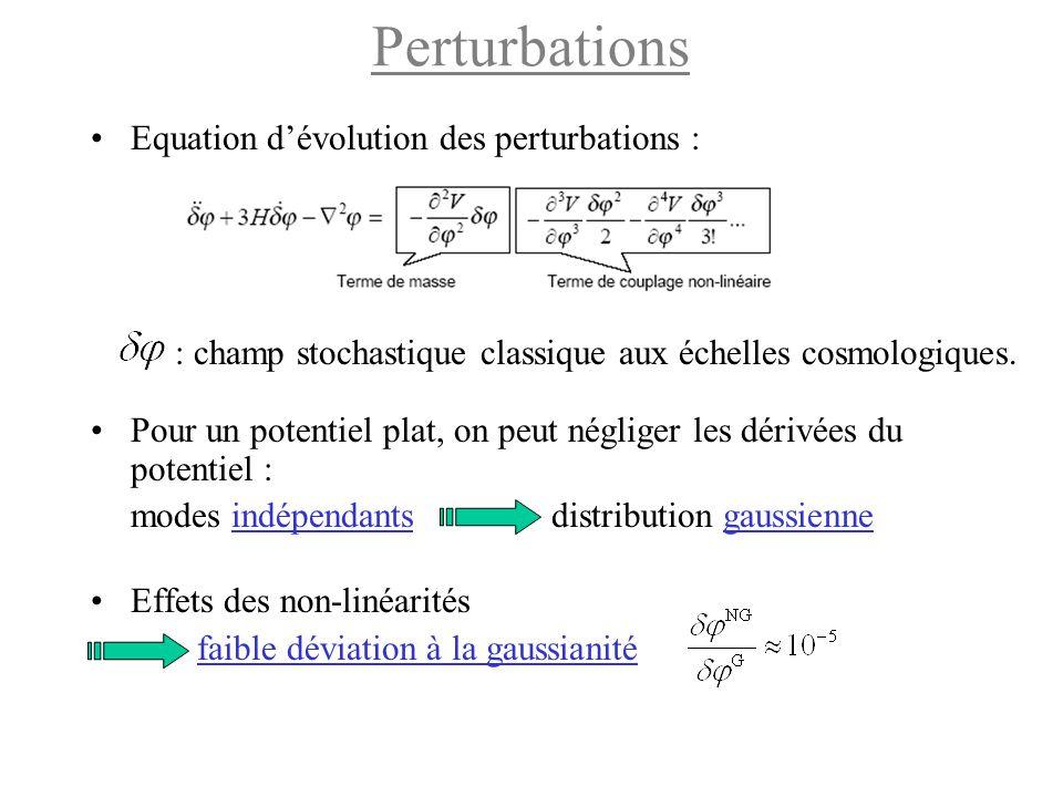 Perturbations Equation d'évolution des perturbations : : champ stochastique classique aux échelles cosmologiques. Pour un potentiel plat, on peut négl
