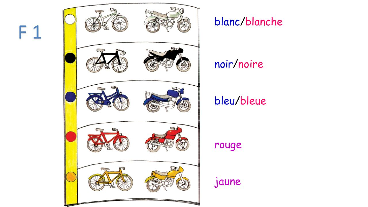 Les couleurs Blue- bleu/bleue White-blanc/blanche Red- rouge Yellow- jaune Black- noir/noire Pink- rose Green- vert/verte Brown- marron or brun/brune Gray- gris/grise Purple- pourpre/ or violet/violette Orange-orange Beige-beige Les couleurs Blue- bleu/bleue White-blanc/blanche Red- rouge Yellow- jaune Black- noir/noire Pink- rose Green- vert/verte Brown- marron or brun/brune Gray- gris/grise Purple- pourpre/ or violet/violette Orange-orange Beige-beige F 1--COLORS -