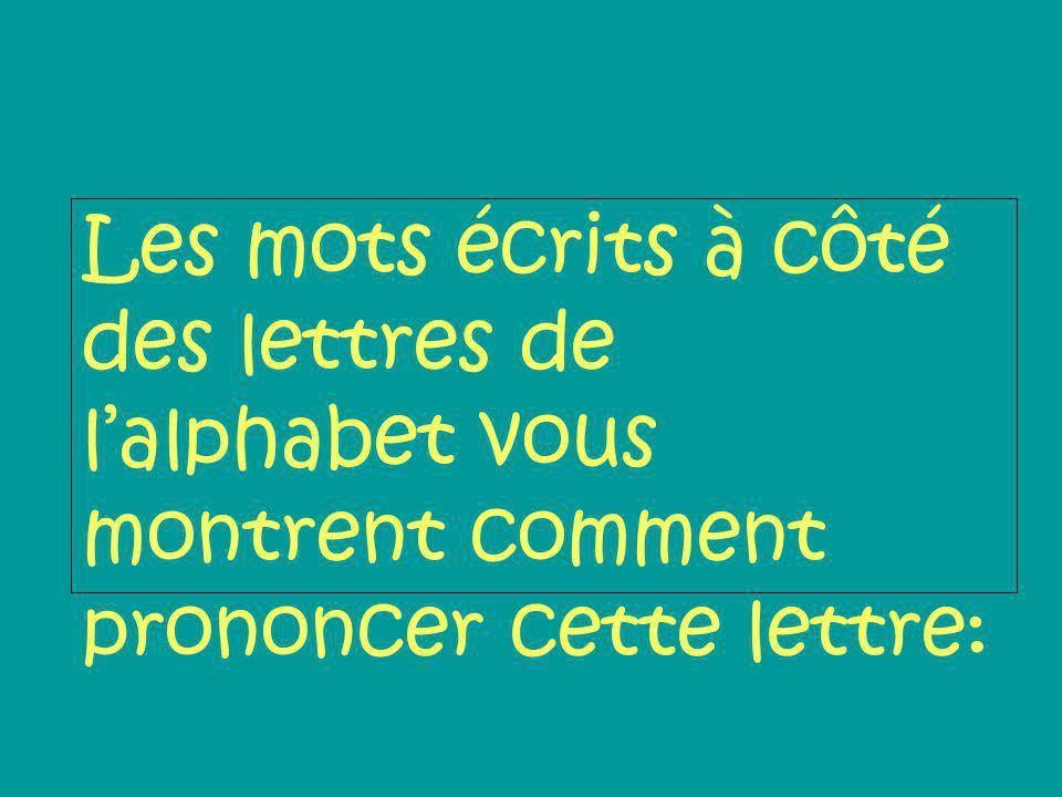 Les mots écrits à côté des lettres de l'alphabet vous montrent comment prononcer cette lettre: