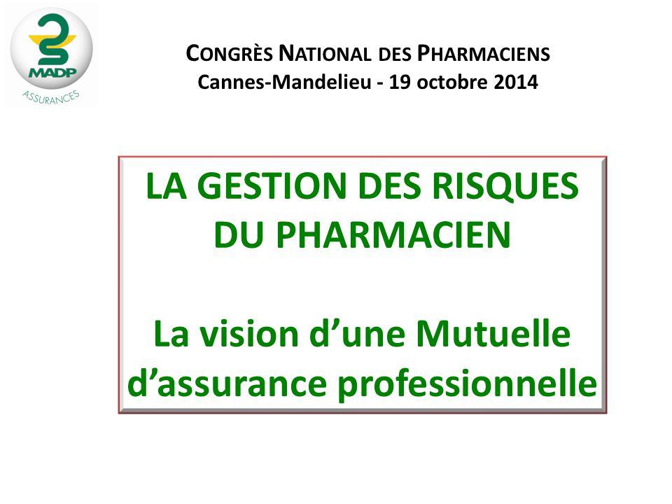 LA GESTION DES RISQUES DU PHARMACIEN La vision d'une Mutuelle d'assurance professionnelle C ONGRÈS N ATIONAL DES P HARMACIENS Cannes-Mandelieu - 19 oc