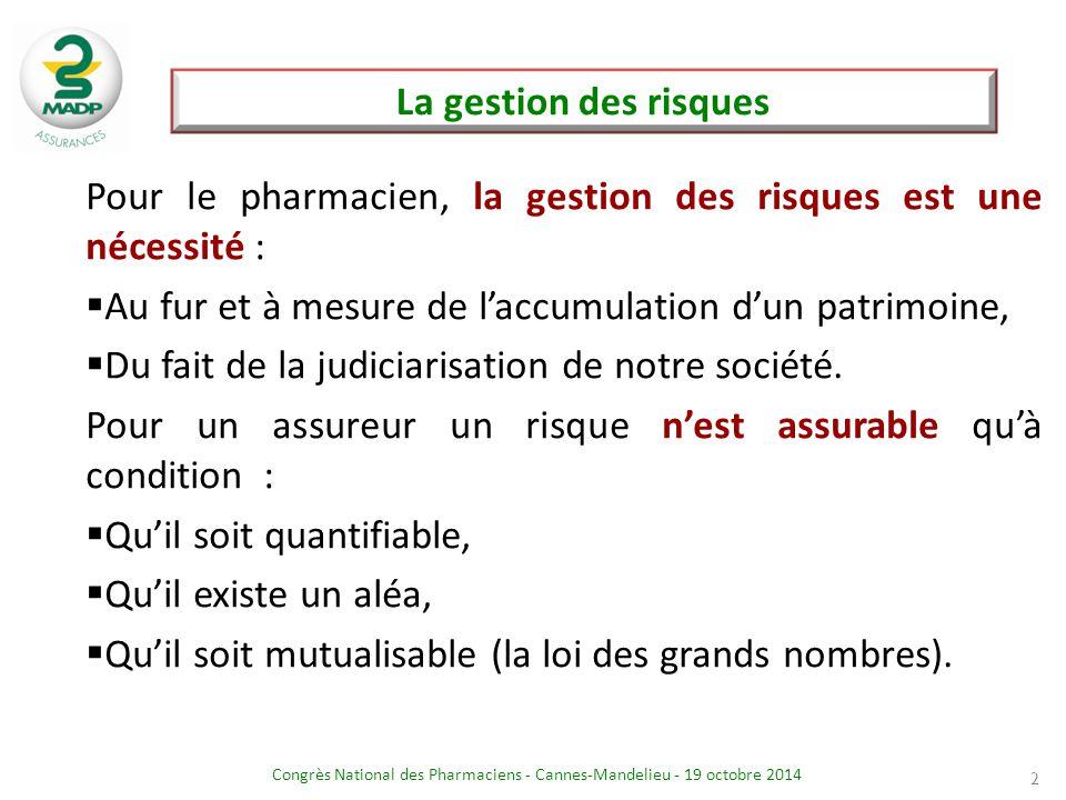 Congrès National des Pharmaciens - Cannes-Mandelieu - 19 octobre 2014 La gestion des risques 2 Pour le pharmacien, la gestion des risques est une néce