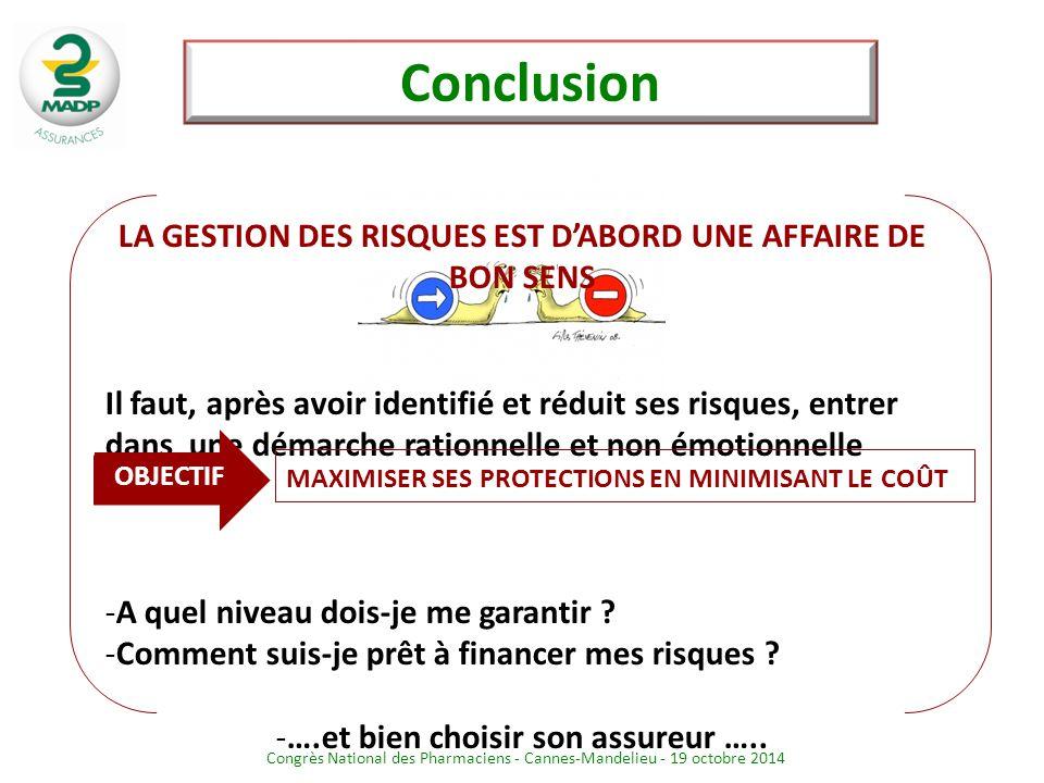 Congrès National des Pharmaciens - Cannes-Mandelieu - 19 octobre 2014 LA GESTION DES RISQUES EST D'ABORD UNE AFFAIRE DE BON SENS Il faut, après avoir