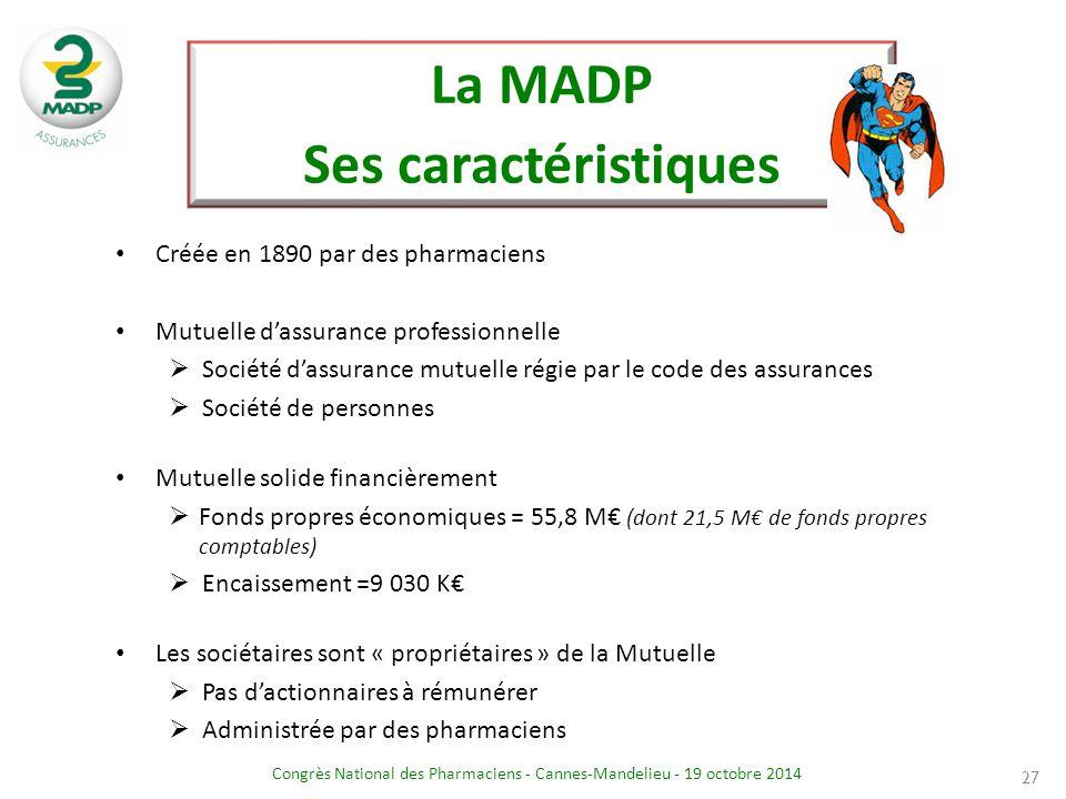 Congrès National des Pharmaciens - Cannes-Mandelieu - 19 octobre 2014 La MADP Ses caractéristiques Créée en 1890 par des pharmaciens Mutuelle d'assura
