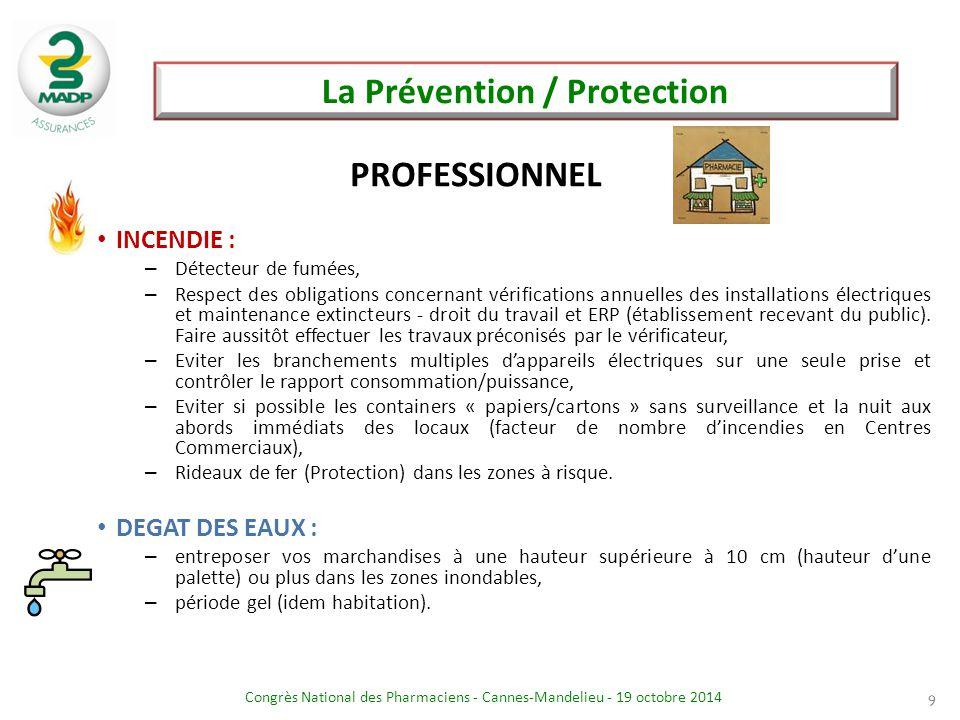 Congrès National des Pharmaciens - Cannes-Mandelieu - 19 octobre 2014 La Prévention / Protection 9 INCENDIE : – Détecteur de fumées, – Respect des obl