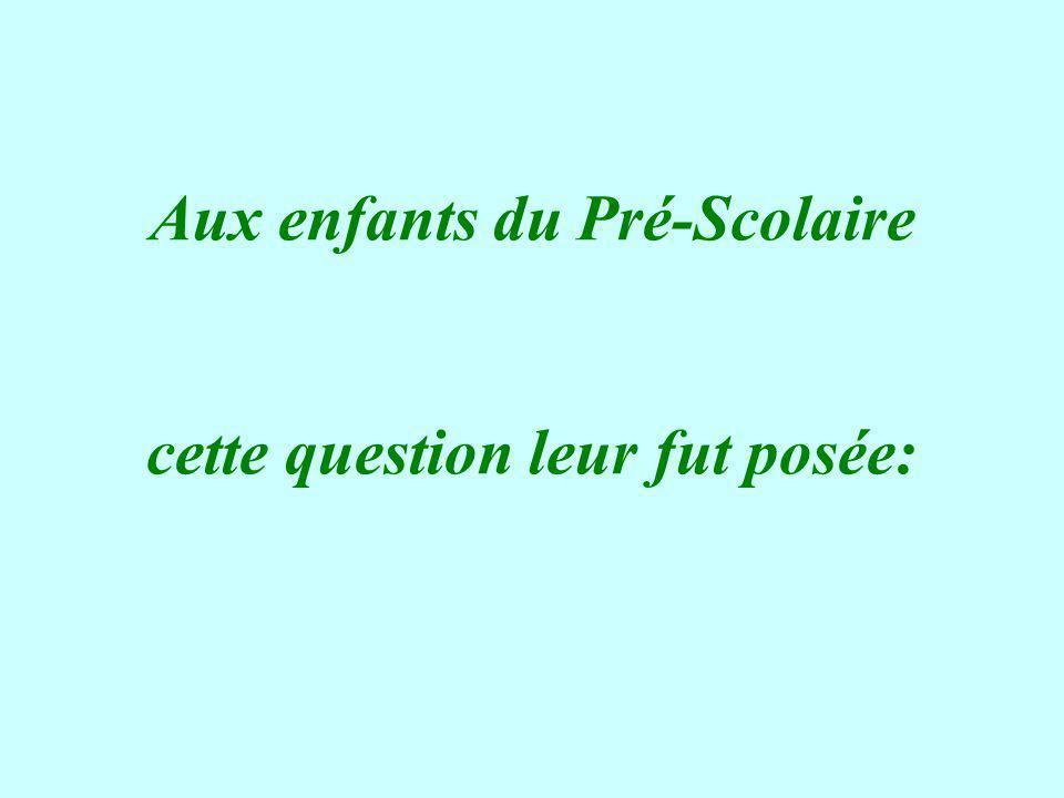 Aux enfants du Pré-Scolaire cette question leur fut posée: