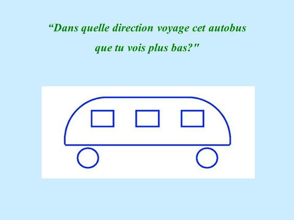 Dans quelle direction voyage cet autobus que tu vois plus bas