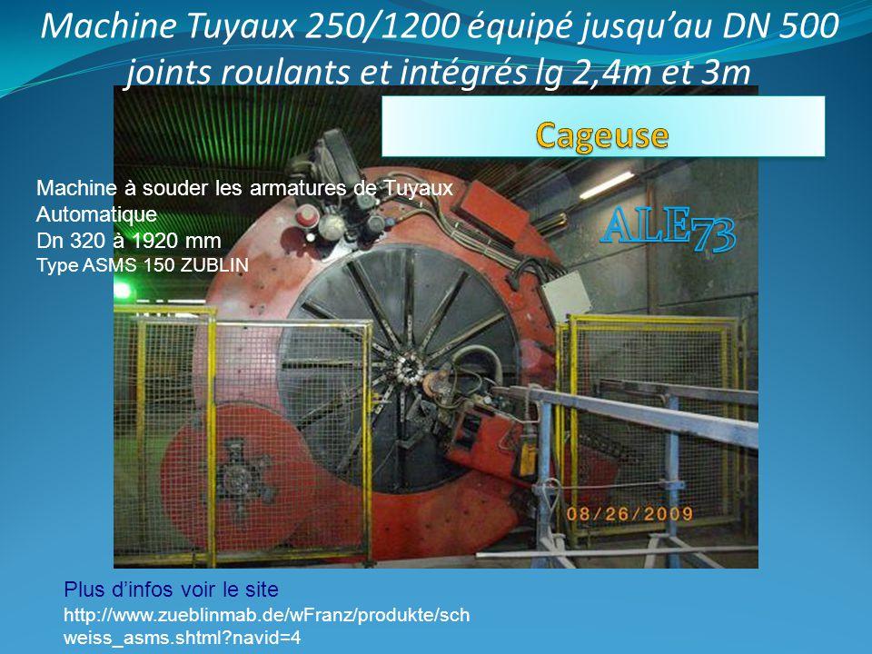 Machine Tuyaux 250/1200 équipé jusqu'au DN 500 joints roulants et intégrés lg 2,4m et 3m Machine à souder les armatures de Tuyaux Automatique Dn 320 à 1920 mm Type ASMS 150 ZUBLIN Plus d'infos voir le site http://www.zueblinmab.de/wFranz/produkte/sch weiss_asms.shtml navid=4