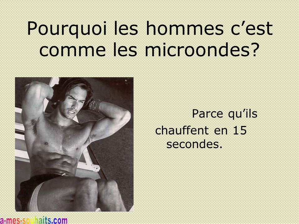 Pourquoi les hommes c'est comme les microondes? Parce qu'ils chauffent en 15 secondes.