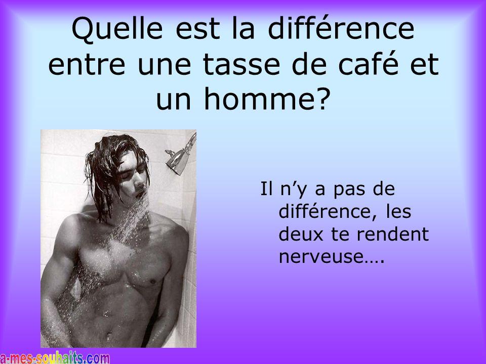 Quelle est la différence entre une tasse de café et un homme.