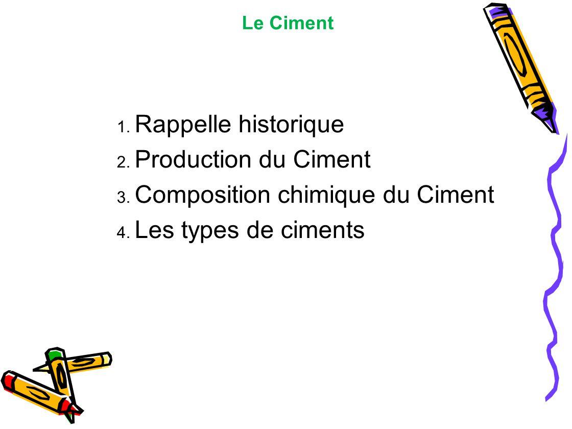 Le Ciment 1. Rappelle historique 2. Production du Ciment 3. Composition chimique du Ciment 4. Les types de ciments