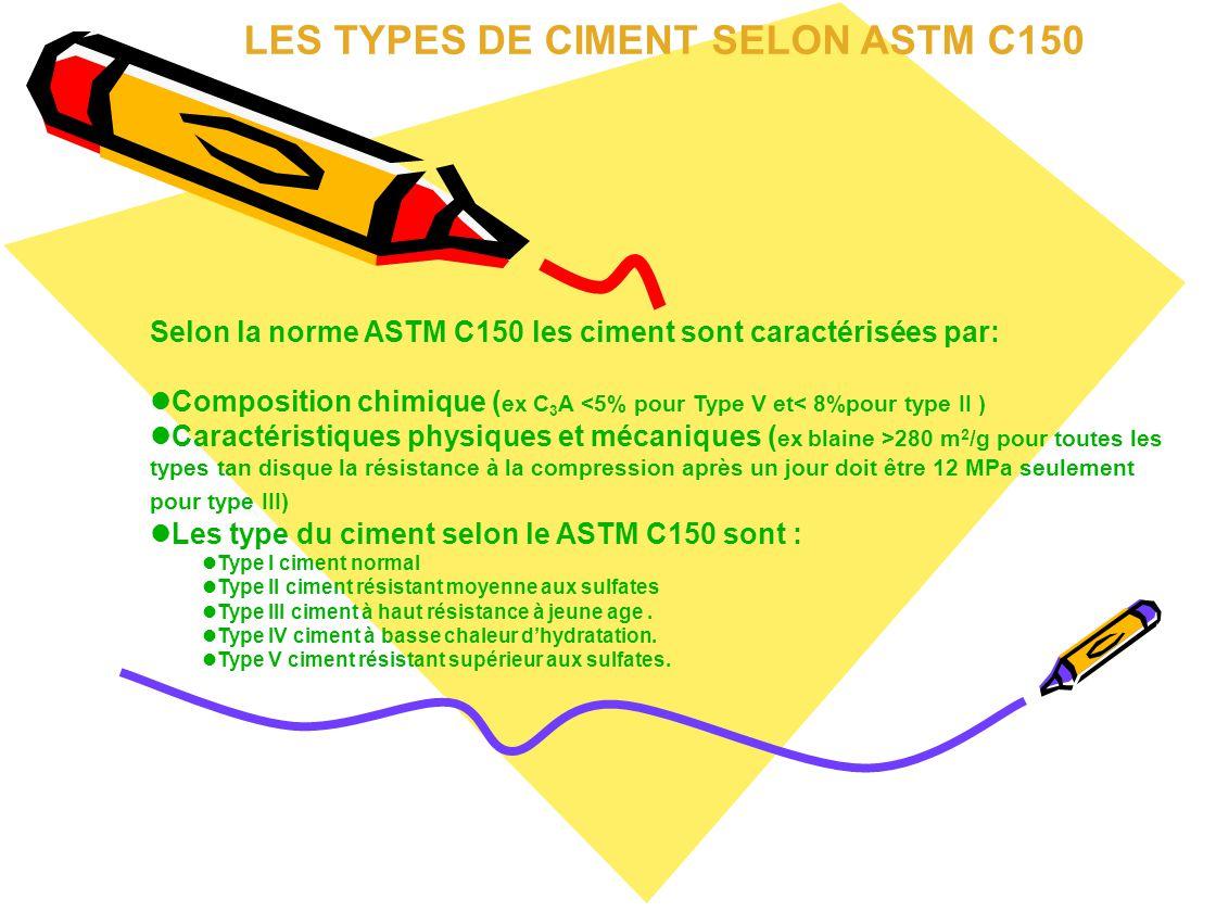 LES TYPES DE CIMENT SELON ASTM C150 Selon la norme ASTM C150 les ciment sont caractérisées par: Composition chimique ( ex C 3 A <5% pour Type V et< 8%