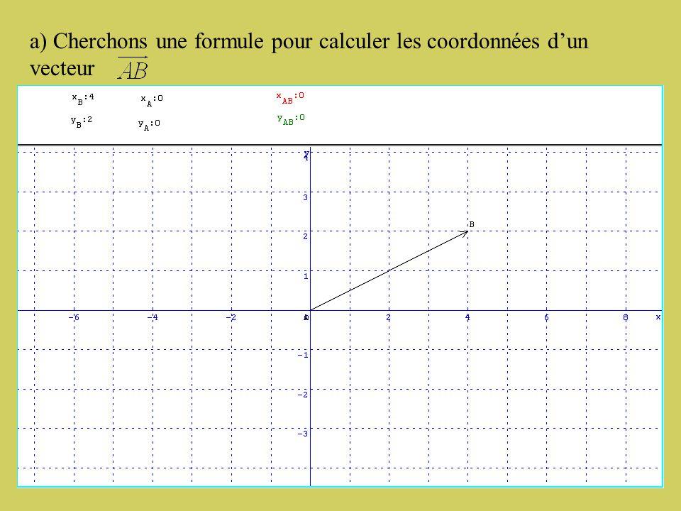 2) Calcul des coordonnées d'un vecteur.