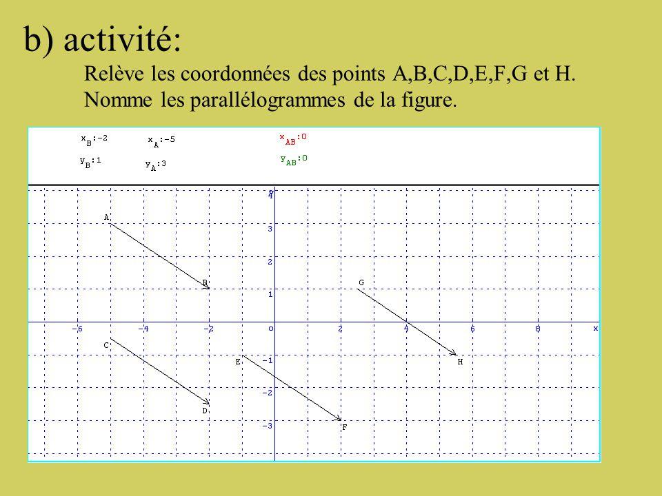 a) Cherchons une formule pour calculer les coordonnées d'un vecteur