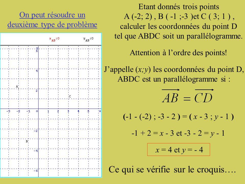 Premier type de problème: Démontrer qu'un quadrilatère est un parallélogramme. Étant donnés quatre points A (-2; 2), B ( -1 ;-3 ), C ( 3 ; 1 ) et F (