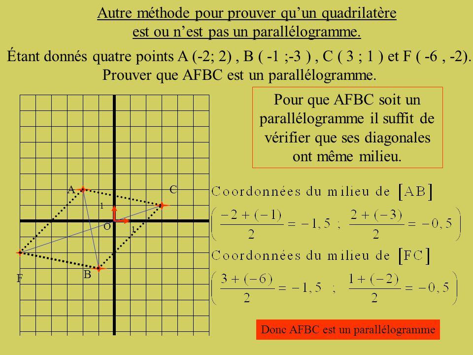 Les coordonnées du milieu d'un segment [AB] sont données par la formule A retenir