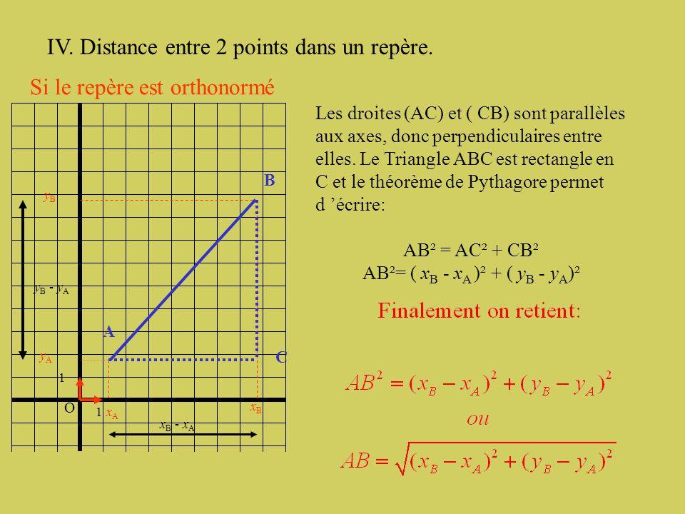 O 1 1 A F B C Étant donnés quatre points A (-2; 2), B ( -1 ;-3 ), C ( 3 ; 1 ) et F ( -6, -2). Prouver que AFBC est un parallélogramme. Autre méthode p