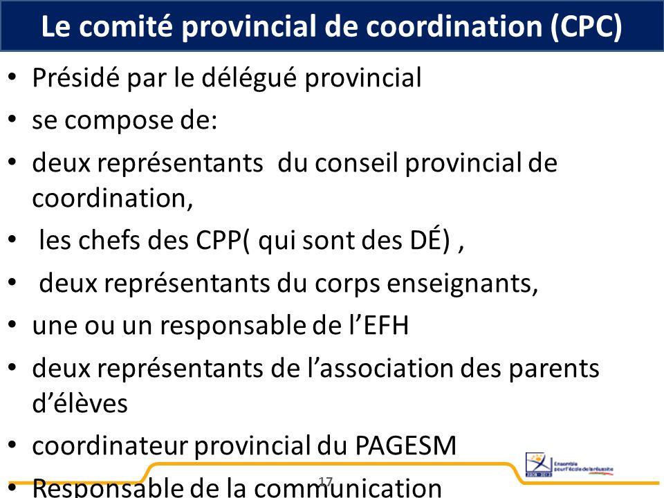 Présidé par le délégué provincial se compose de: deux représentants du conseil provincial de coordination, les chefs des CPP( qui sont des DÉ), deux r
