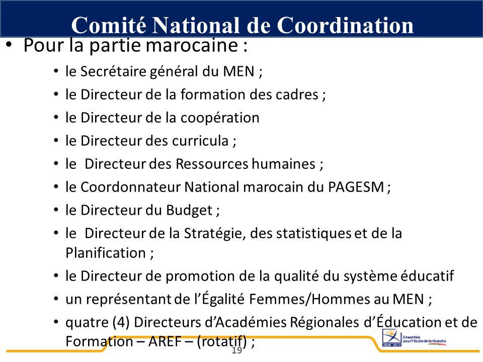 Pour la partie marocaine : le Secrétaire général du MEN ; le Directeur de la formation des cadres ; le Directeur de la coopération le Directeur des curricula ; le Directeur des Ressources humaines ; le Coordonnateur National marocain du PAGESM ; le Directeur du Budget ; le Directeur de la Stratégie, des statistiques et de la Planification ; le Directeur de promotion de la qualité du système éducatif un représentant de l'Égalité Femmes/Hommes au MEN ; quatre (4) Directeurs d'Académies Régionales d'Éducation et de Formation – AREF – (rotatif) ; 19 Comité National de Coordination