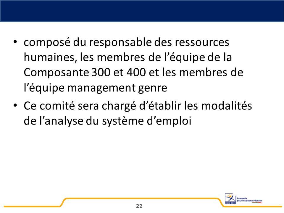 composé du responsable des ressources humaines, les membres de l'équipe de la Composante 300 et 400 et les membres de l'équipe management genre Ce comité sera chargé d'établir les modalités de l'analyse du système d'emploi 22